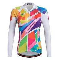 Reflective Lady Colorful Long Sleeve Cycling Jerseys Women Bike Jacket Cycle Shirts MTB Wear Top For