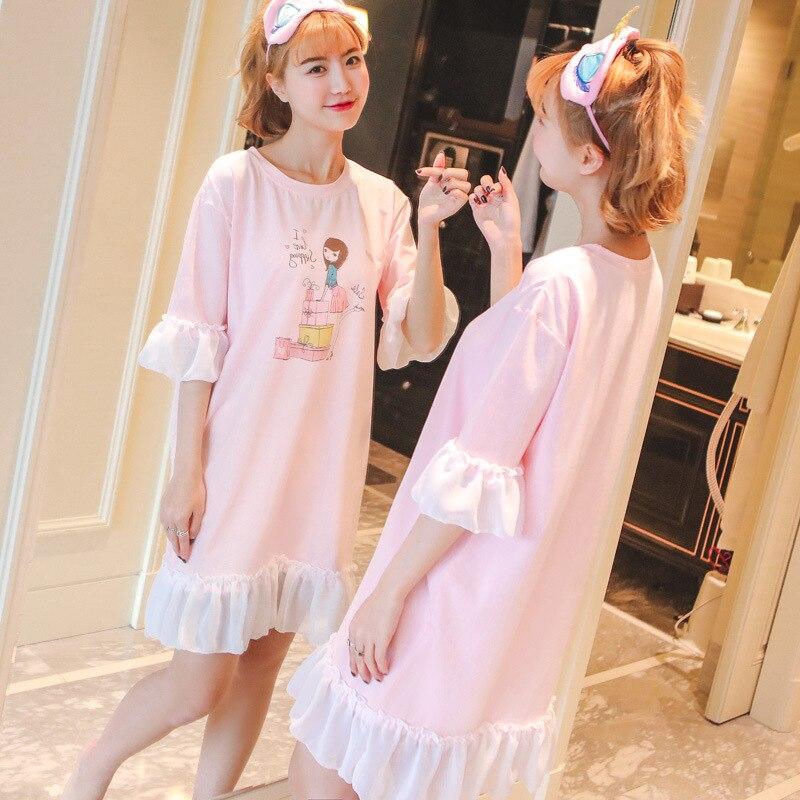 Factory direct summer girl ruffle dress short - sleeved home lace sweet princess cartoon pattern home service ruffle dress wj677