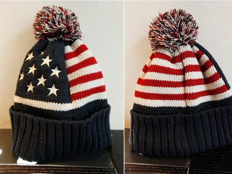 DHL 50 Pieces Facroty Direct Women USA American Flag Beanie Wool Winter Warm Knitted Caps And Hats For Man Women