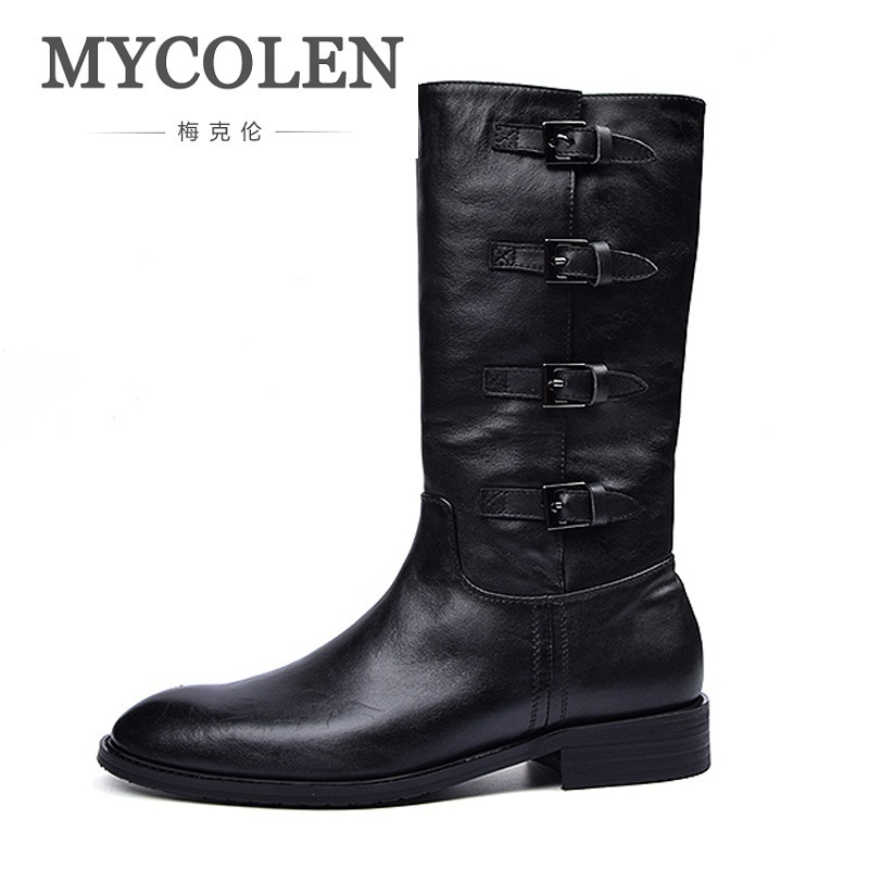 MYCOLEN Genuine Leather Riding Boots Men Military Desert Boot Shoes Men High Top Buckle Winter Boots Rangers Botte Militaire