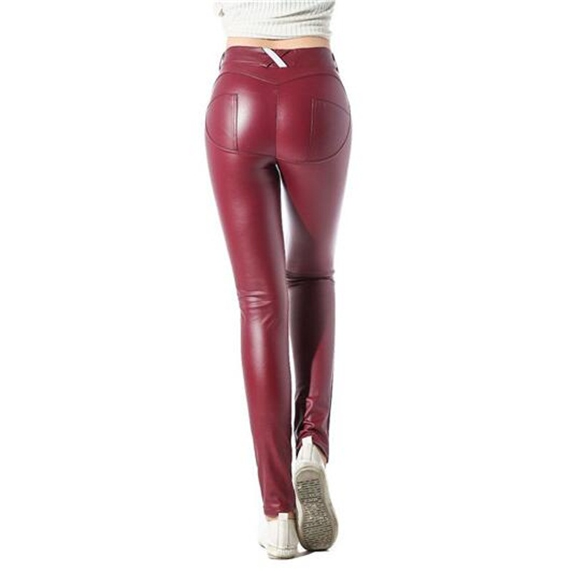 Lady PU Leather Leggings Russia Trend Girl Fashion Slim Soft Elastic Waist Band Red Black Noble Women Party Faux Leather Pants