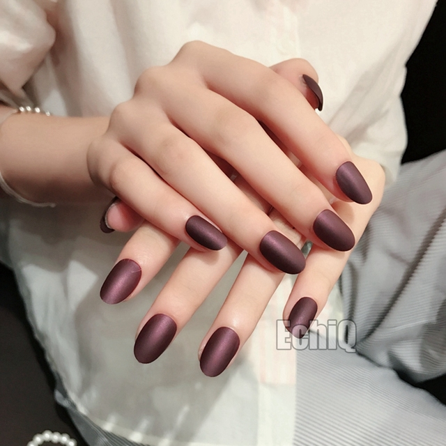 Dark Purple Matte Acrylic Nails Short Full Wrap Round Frosted False ...