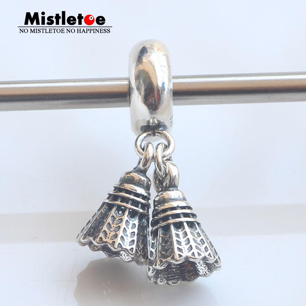 Mistletoe Authentic 925 Sterling Silver Sport Badminton Dangle Charm Stopper Fit European Bracelets Jewelry