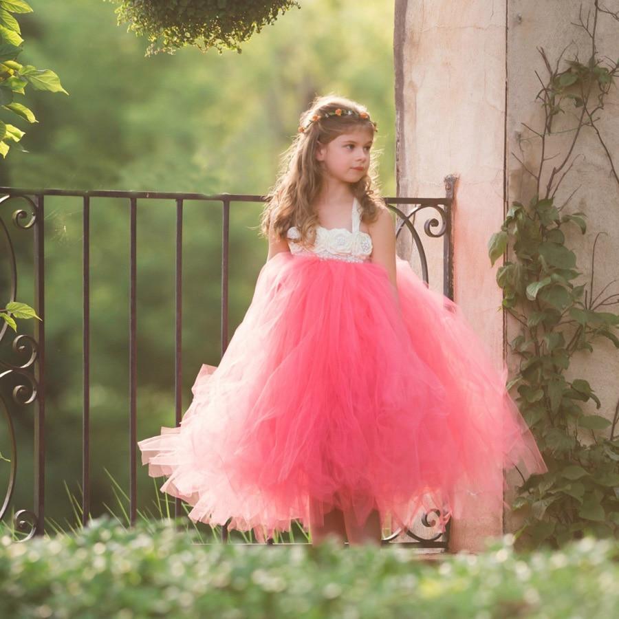 Handmade Fairy Peach Flower Girls Wedding Tutu Dress Princess Kids Ball Gown Dress for Girls Pageant Party Clothes Tulle Dress 4