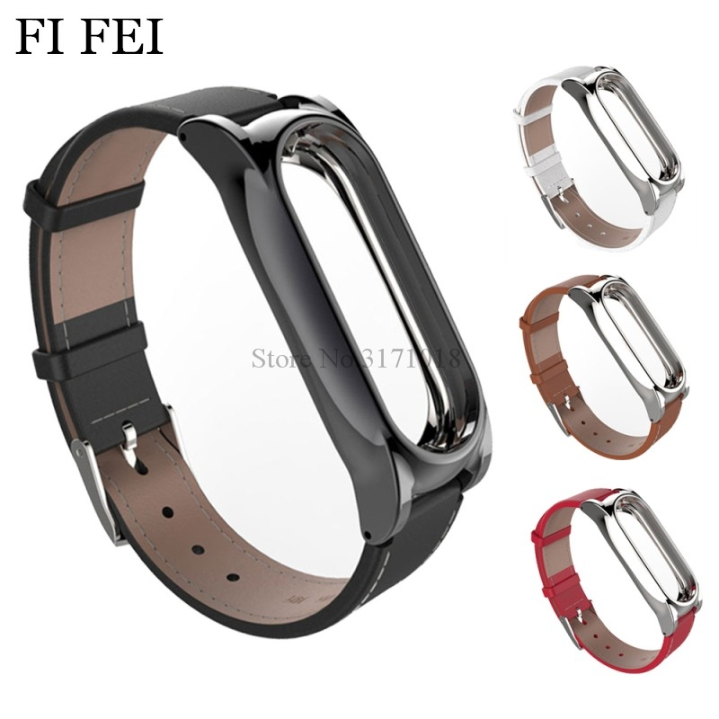 FI FEI Leather Band For Xiaomi Mi Band 2 Miband 2 Strap Metal Bumper Frame Watchband Wristband Watch Wrist Strap Band Bracelet new fashion original silicon wrist strap wristband bracelet replacement for xiaomi mi band 2 dignity 8 9