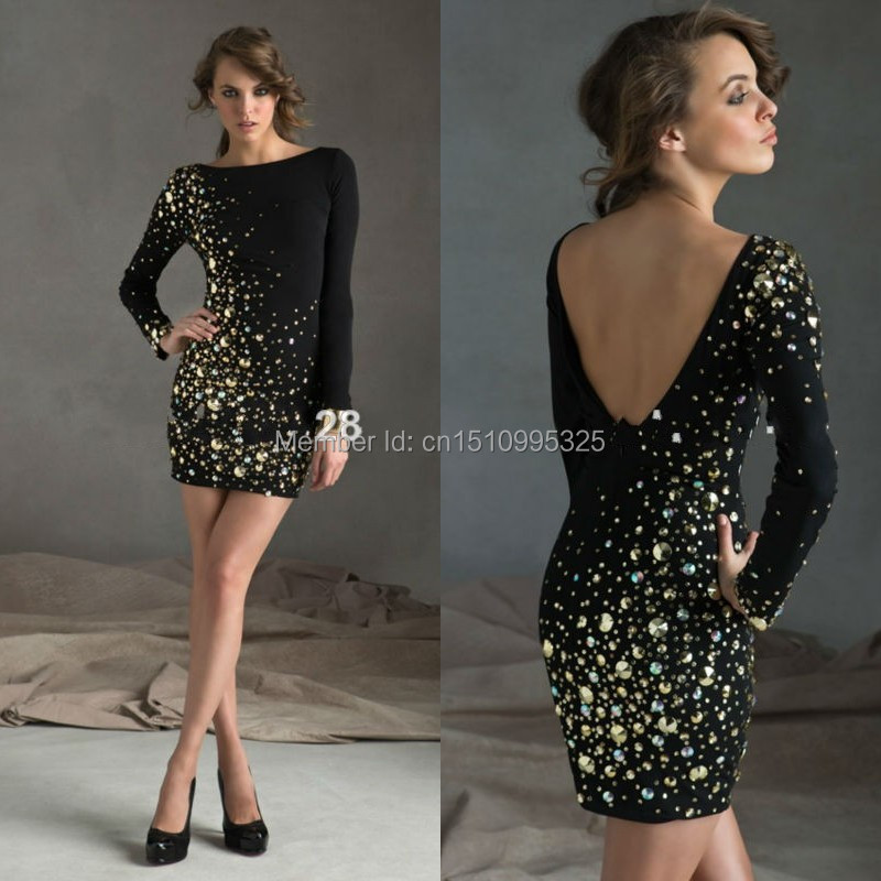 Custom Made High Neck Low Back Long Sleeve Crystal Beaded Short Sexy