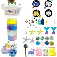 DIY Slime Kit Supplies Clear Crystal Slime Making Kit Slime Foam Beads Glitter Modeling Clay/Slime party decorations