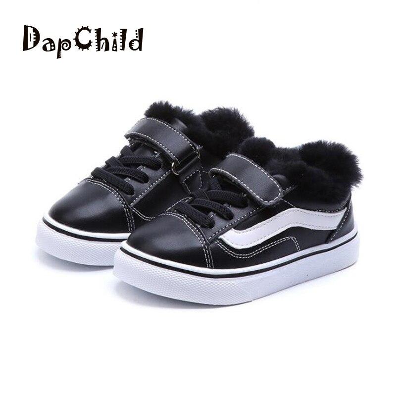 DapChild Brand Winter Kids Shoes Boys Sneakers Waterproof Leather Girls Casual Shoes Warm Footwear Fashion Children School Shoes