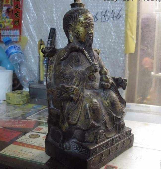 Trung quốc đền mythology bronze copper gild Tai Shang Lao Tháng Sáu Đạo Tượng phật