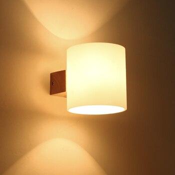 Americano moderno lampada da parete In Legno Massello camera da letto lampada da comodino corridoio scale registri Nordic minimalista lampade da parete 6038 ZH