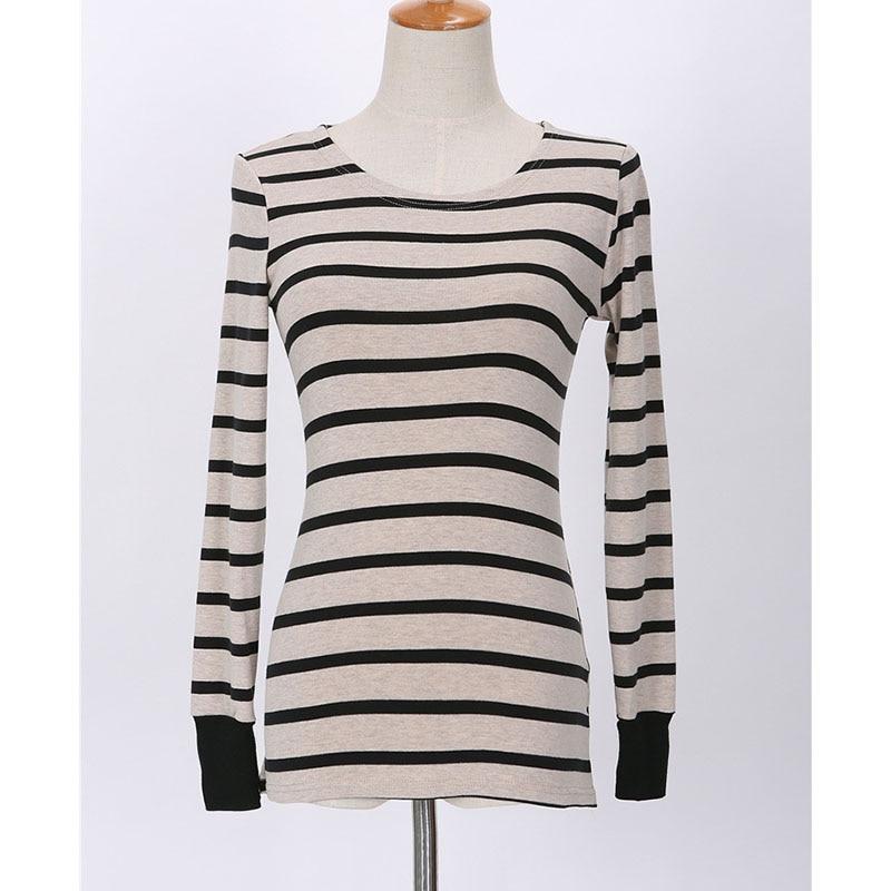 BOBOKATEER Langærmet t-shirt kvinder toppe tee shirt femme stripet - Dametøj - Foto 4