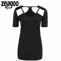 Zeagoo Women Casual V Neck Short Sleeve Solid Shoulder Hollow Out Sexy T Shirt 2017 Summer