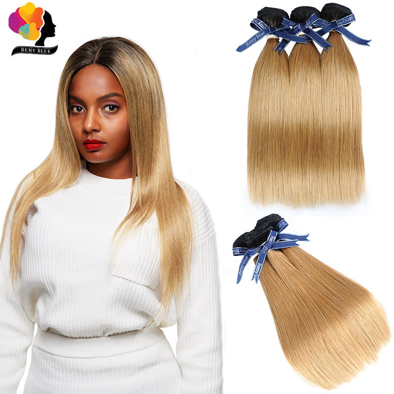 Remyblue Ombre Blonde T1B/27 Straight Brazilian Hair Weave Bundles 100% Human Hair Bundles Remy Hair Extensions 1/3/4 Piece/lot