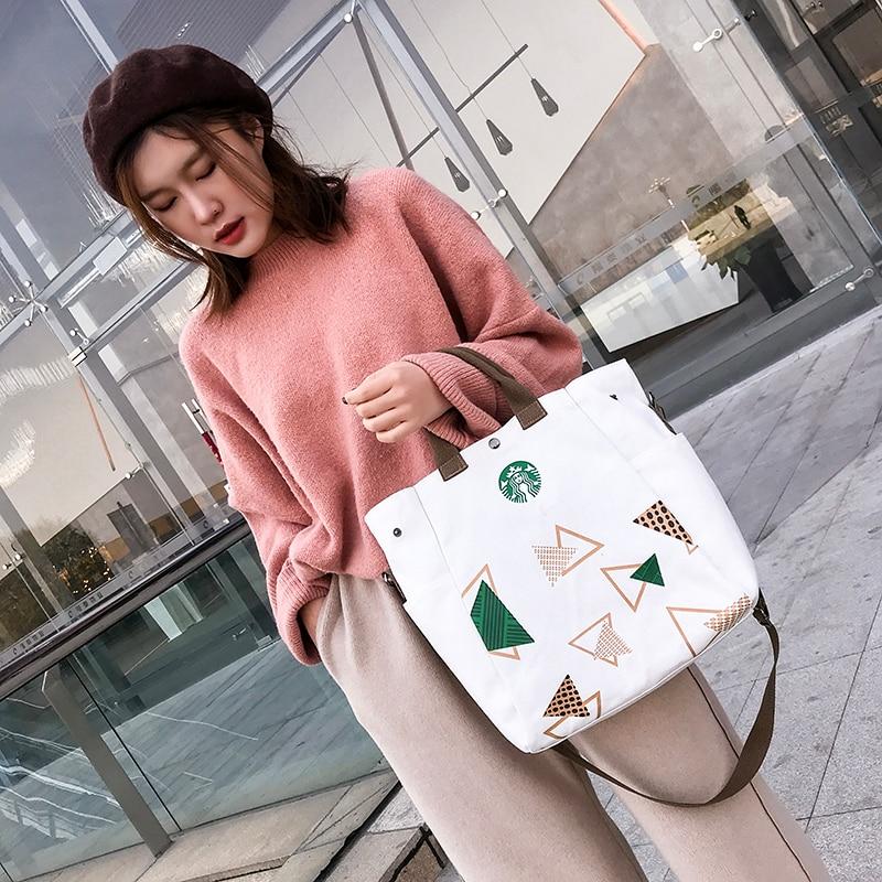 Starbucks Shoulder Bag Durable Women Student Single Shopping Tote Check Plaid Female Crossbody Handbag