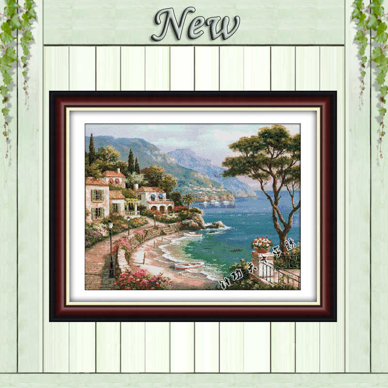 Harbor Of Love Sea Scenic beach paintings Counted print on fabric DMC 14CT 11CT DIY Cross Stitch Needlework kits Embroidery Sets
