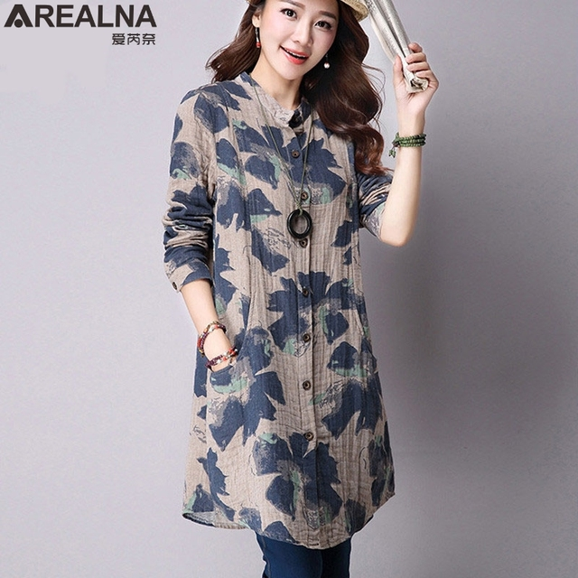 AREALNA Autumn New Fashion Floral Print Cotton Linen Blouses Casual Long Sleeve Shirt Women Plus Size Women Top With Pockets XXL