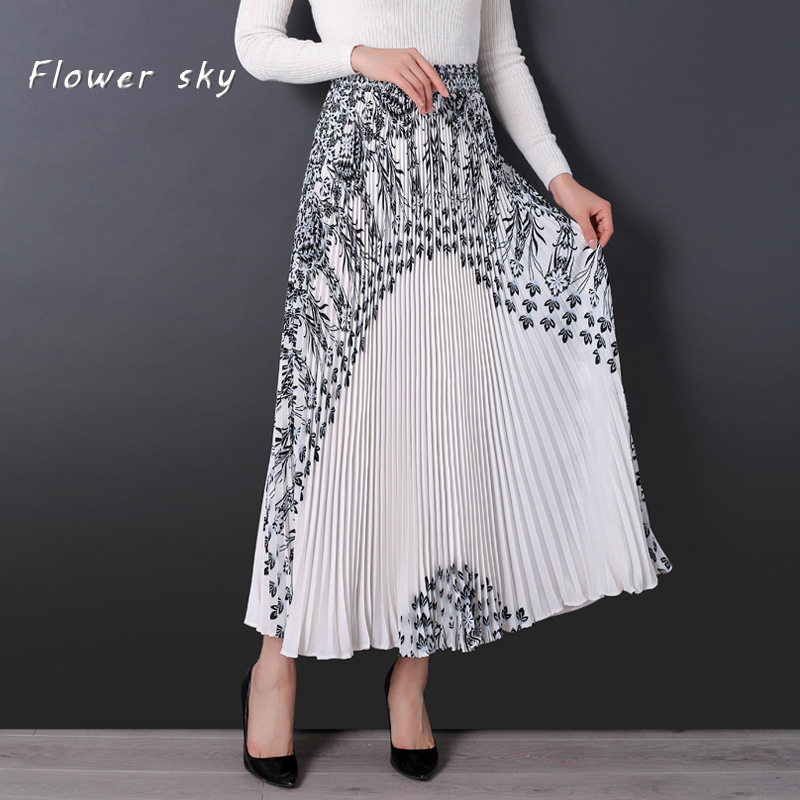 FLOWER SKY New Fashion Summer Women Floral Skirt Long Pleated Skirts Womens Saias Midi Faldas Vintage Women Long Maxi Skirt