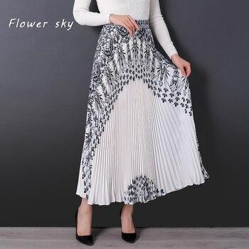 fce17b5be Neophil 2019 negro de lujo bordado Floral patrón mujeres faldas largas Maxi  alto plisado 100 cm ...