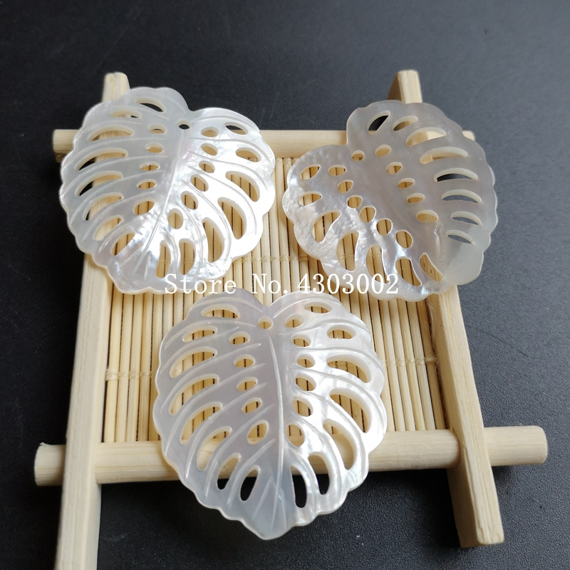 20pcs lot 37x40mm 100 Natural Hollow Leaf Mother Of Pearl Shell Leaf for DIY Jewerly Hollow