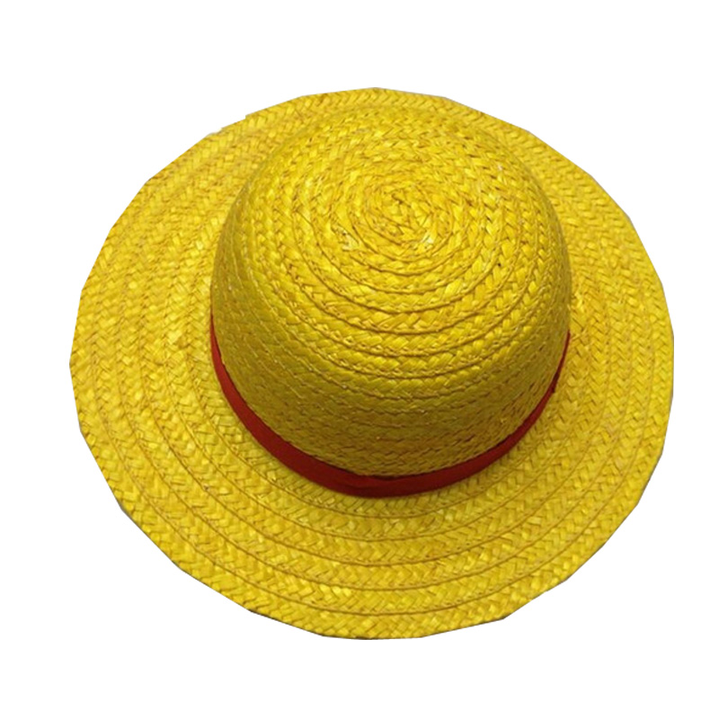 Coshome One Piece Luffy Yellow Straw Boater Beach Hats Tony Chopper Trafalgar Law White Plush Cap Ace Orange West Cowboy Hats (2)