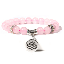 Lotus Charm Buddha Bracelet Women Buddhist Prayer Beaded Knot black ebony Unisex Men Bracelets & Bangles for Yoga Mala