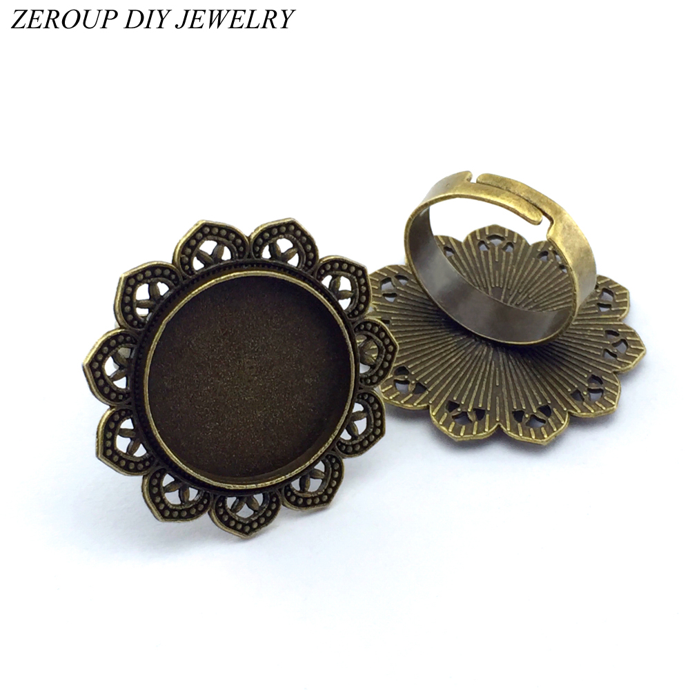 ZEROUP 20mm 5pcs Ring Setting Antique Bronze Copper Plated Adjustable Round Glass Cabochon Blank Base Supplies For Jewelry F25