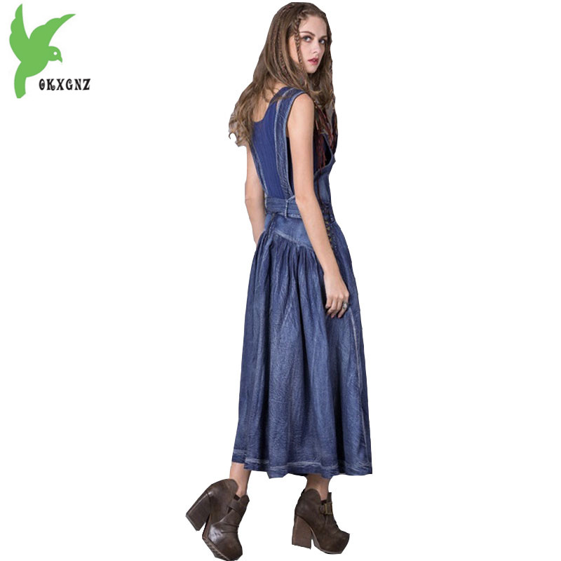 Summer Denim Dress Female Costume Embroidered Tassels National Style