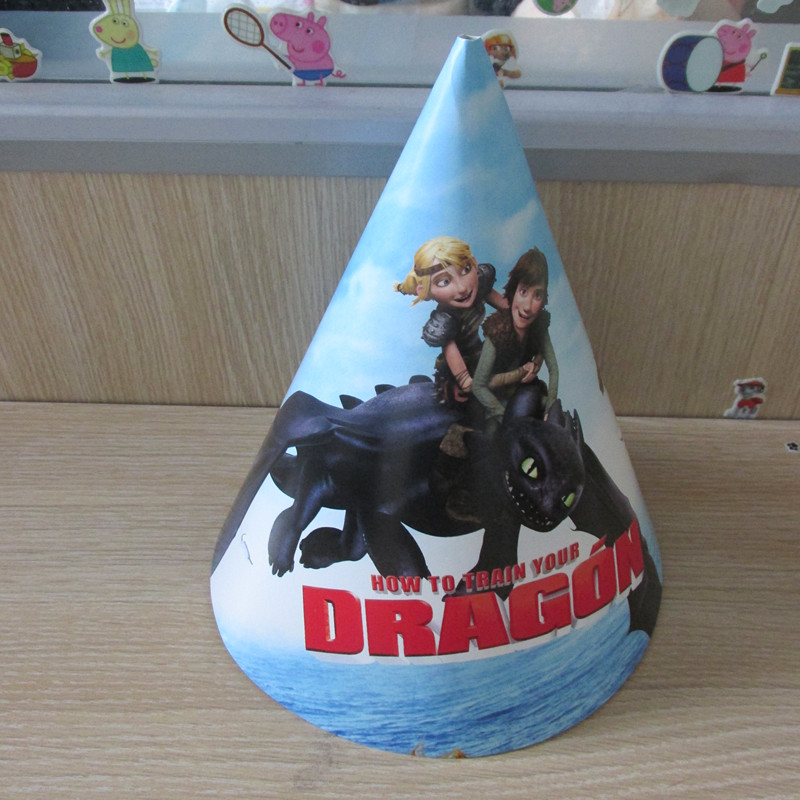 Birthday Party Dragon Cartoon Printing Cone Paper Hats Caps With String 16pcs