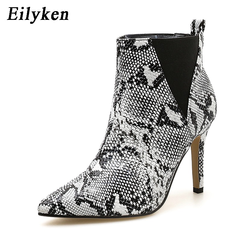 Eilyken 2019 New Women Slip-On Boots Snake Print Ankle Boots For Women Thin Heels Fashion Pointed Toe Ladies Sexy Boots Shoes