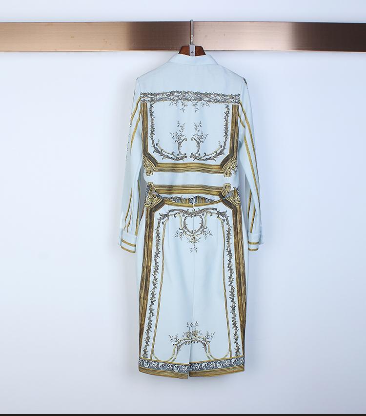 Designer Runway Suit Set Women's Sets Long Sleeve Shirt Tops + Print Skirt suit 2 Two piece set 8