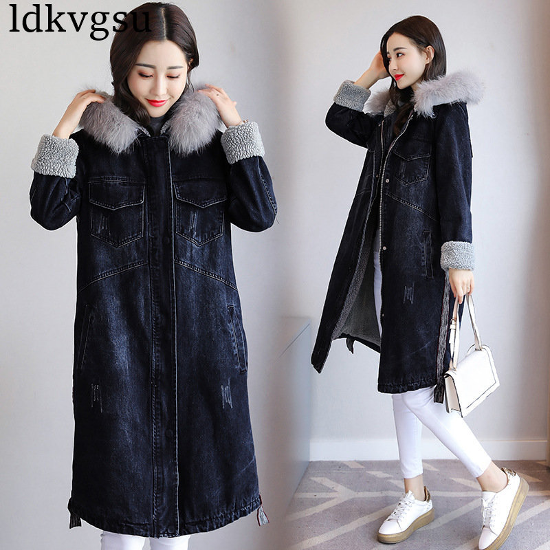 2018   Parka   Women Denim Jacket Fur Hooded Fleece Velvet Fashion Design Warm Thick Pocket Jeans Coat Winter Jackets Female V182