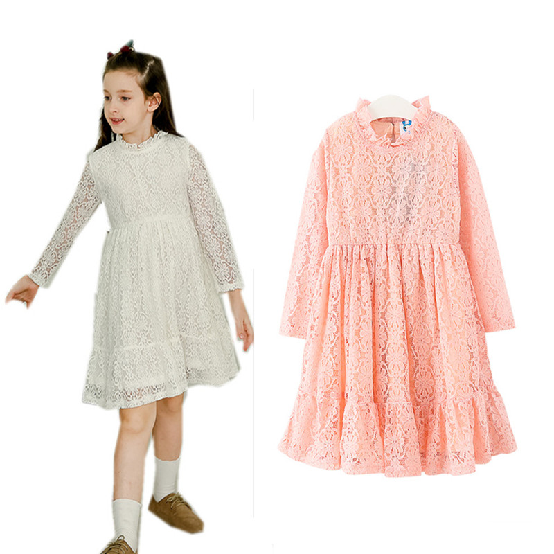 4 to 16 years kids & teenager girls long sleeve lace fall spring formal princess party dress children white pink dresses clothes acthink 2017 new girls formal solid lace dress shirt brand princess style long sleeve t shirts for girls children clothing mc029