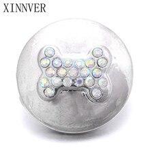 10Pcs/lot 18mm Crystal Dog Bone Snap Button Bracelet Fashion DIY Jewelry For Charm Watches Women ZA449