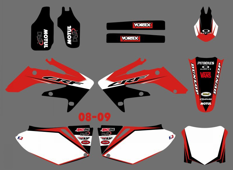 H2CNC GRAPHICS & BACKGROUND DECAL STICKER Kits For Honda CRF250 CRF250R 2008 2009 CRF 250 250R