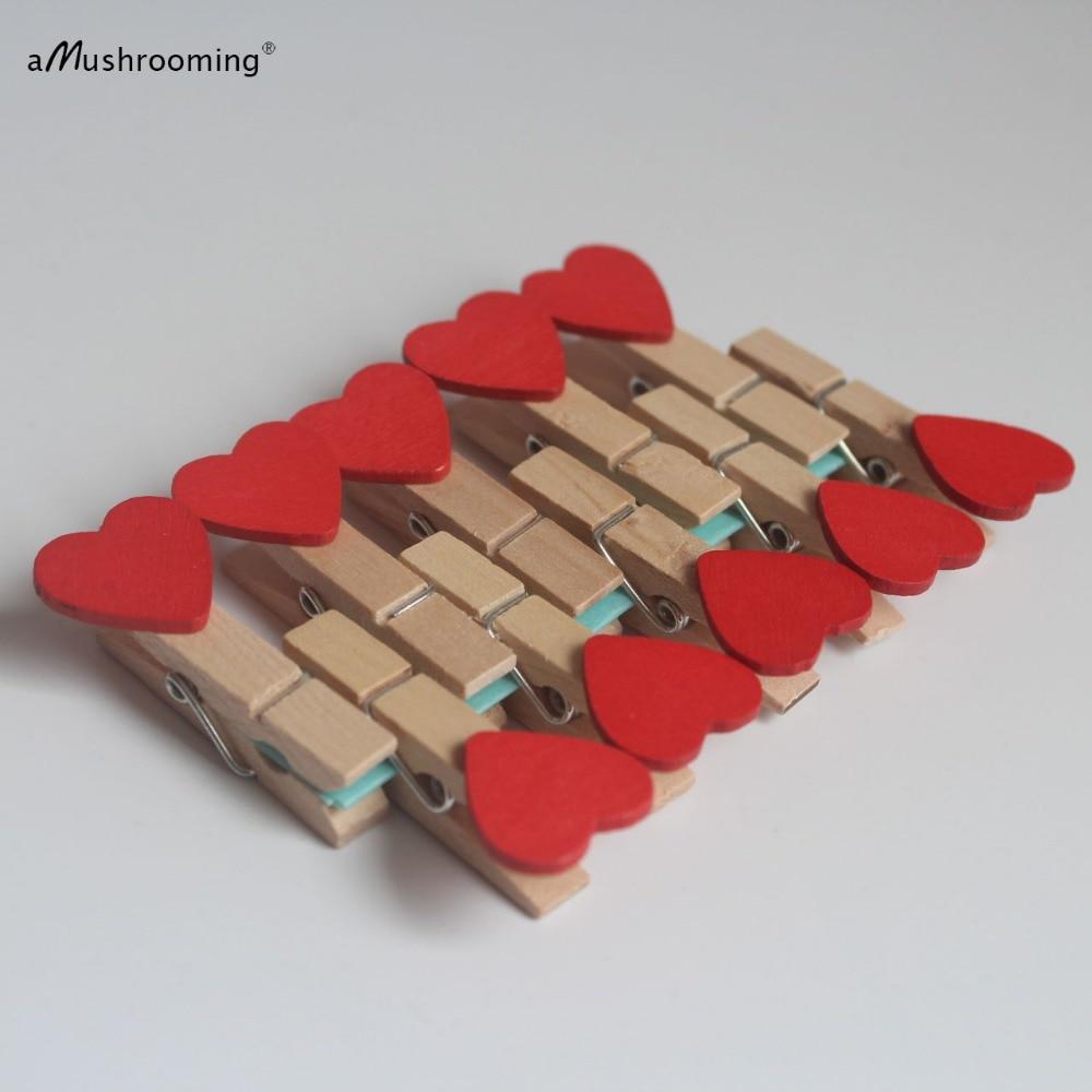 2000 Симпатичные Сердце Любовь Деревянные колышки Баннер Клип | Красный | Свадебная вечеринка украшения событий вечерние поставки