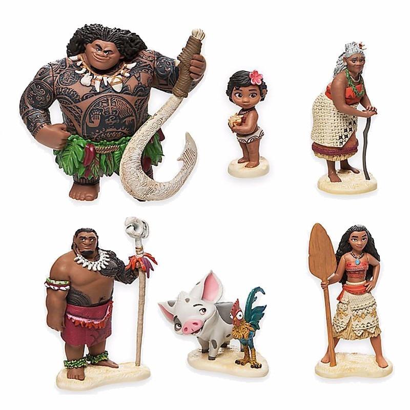 6 Pcs/Set Action Figures Moana Waialiki Maui Heihei Moana Adventure PVC Princess Toy Collection Dolls Children Gift #E