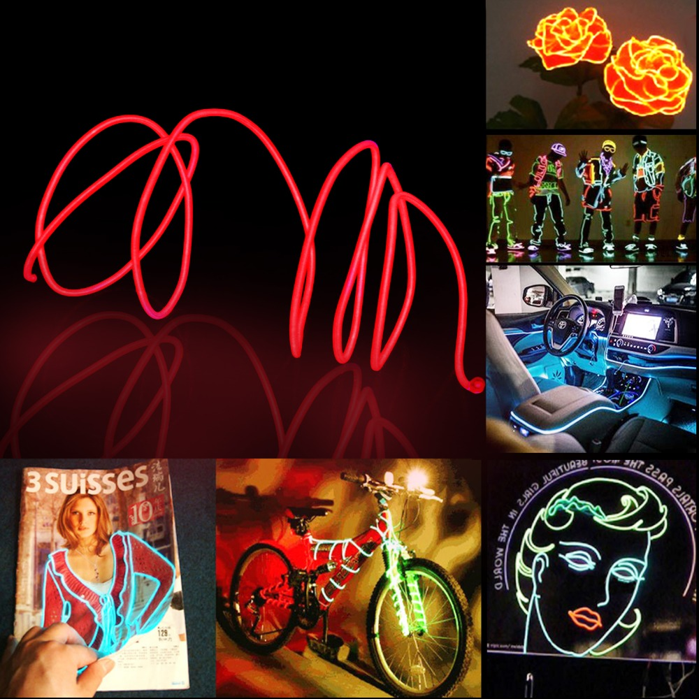 Flexible EL Wire Rope Tube LED Strip Shoes Clothing Car Decor With 3V AA Controller 1M 3M 5M Length