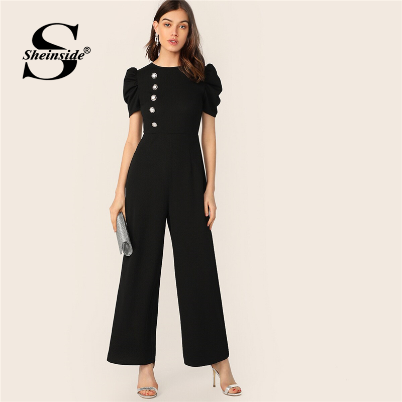 Sheinside Black Button Embellished Puff Sleeve Wide Leg Jumpsuit Women 2019 Spring Maxi Jumpsuits Ladies Solid Elegant Jumpsuit