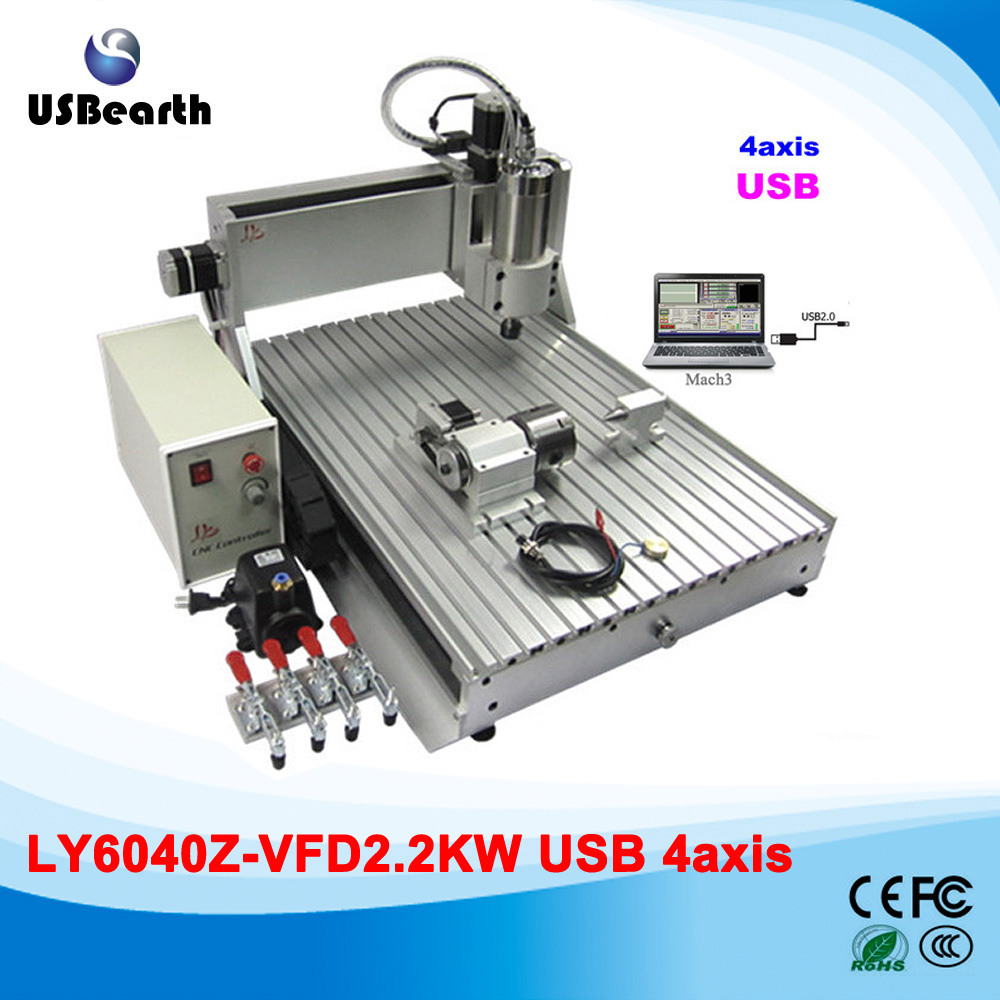 Ball screw cnc 6040 engraving machine USB 2.2kw stone cutting router, custom duty free to Russia eur free tax cnc 6040z frame of engraving and milling machine for diy cnc router