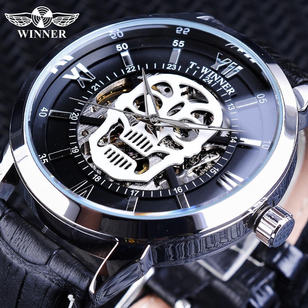 Winner Clock Steampunk Design Skull Skeleton Display Black Genuine Leather Luminous Hands Men's Automatic Watch Top Brand Luxury