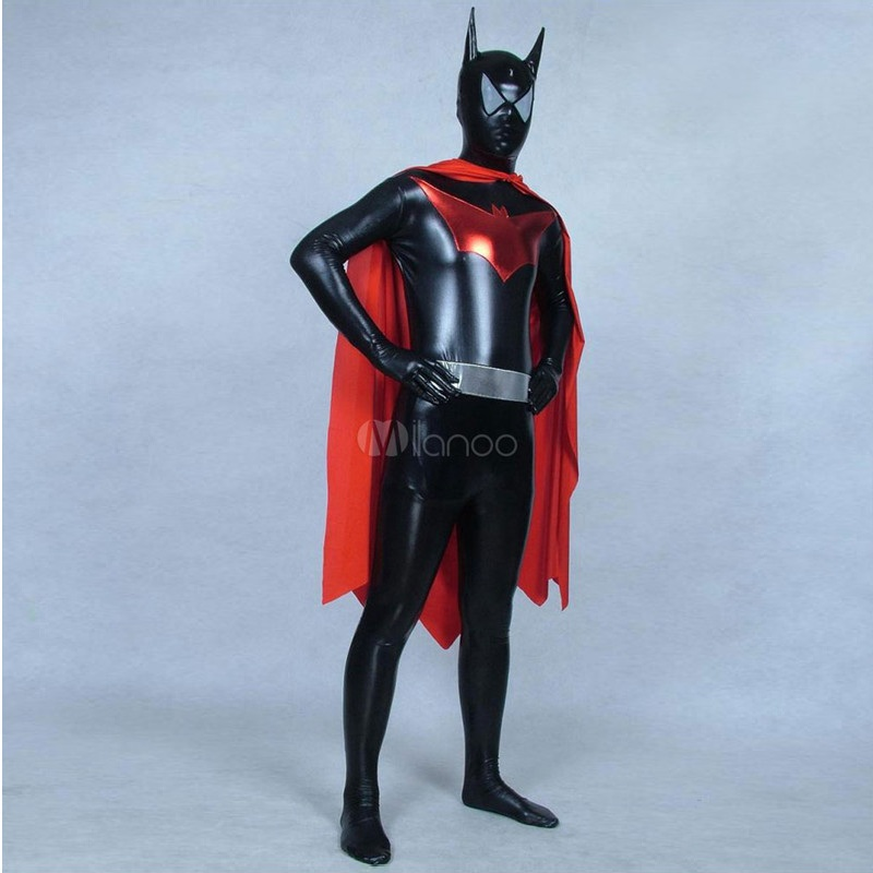 High Quality Black/Red Male Batman Halloween Party Costumes Adult/Childrens Shiny Men's Metallic Anime SuperHero Cosplay Costume