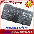 6 células bateria para Msi CX620 CX630 CX700 CX620MX CX620X CX623 CX623X 3D CX700X notebooks CX705 CX705X CX720 GE700 BTY-L74 BTY-L75