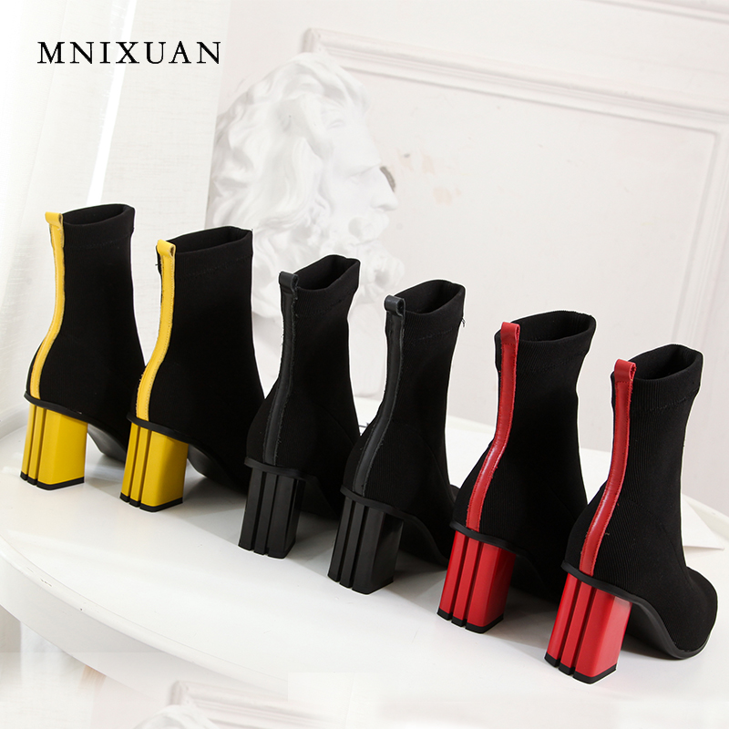 MNIXUAN Knitted elastic boots women shoes 2018 winter new square toe genuine leather thick high heels ankle boots big size 34-43 mnixuan handmade shoes women sandals genuine leather high heels summer 2018 new open toe pearls thick heels big size 34 41 42 43