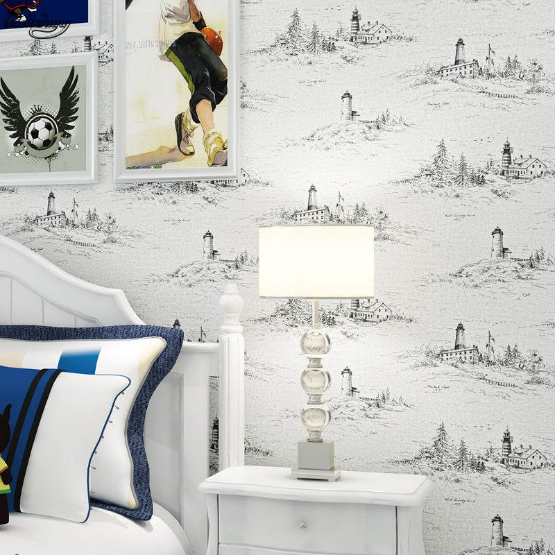 beibehang Mediterranean retro lighthouse non - woven warm children 's room wallpaper living room boy bedroom wallpaper beibehang modern living room warm mediterranean vertical stripes 3d wallpaper living room bedroom covered wallpaper rolls