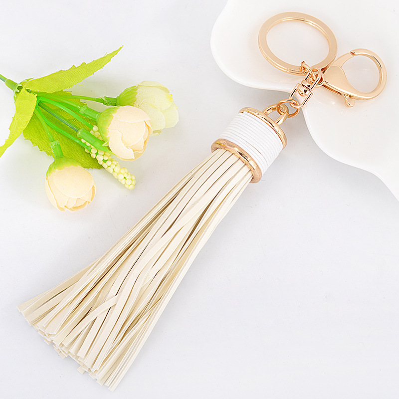 89007115107 Fashion Long Leather Tassel Keychain Car Key Ring Women Purse Handbag Charms  Pendant Key Holder Chains Accessories Jewelry-in Key Chains from Jewelry ...