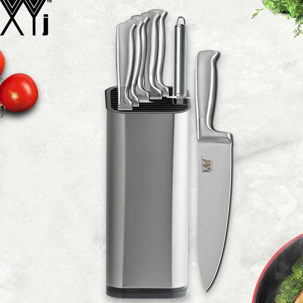 Juegos de cuchillos de cocina XYJ, soporte y afilador Kinfe, cuchilla afilada japonesa 7cr17, cuchillos de acero inoxidable, juego de 8 piezas, herramientas de cocina