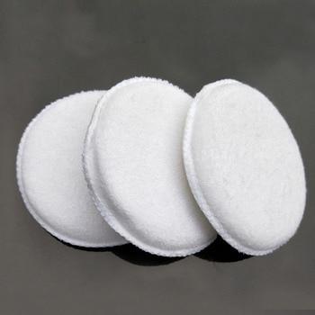3PCS soft microfiber polishing sponge car wash care waxing cotton white applicator pad detail
