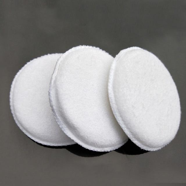 Esponja de pulido de microfibra suave para coche, de fácil lavado, encerado de algodón, almohadilla aplicadora blanca, detalle de coche, 3 uds.