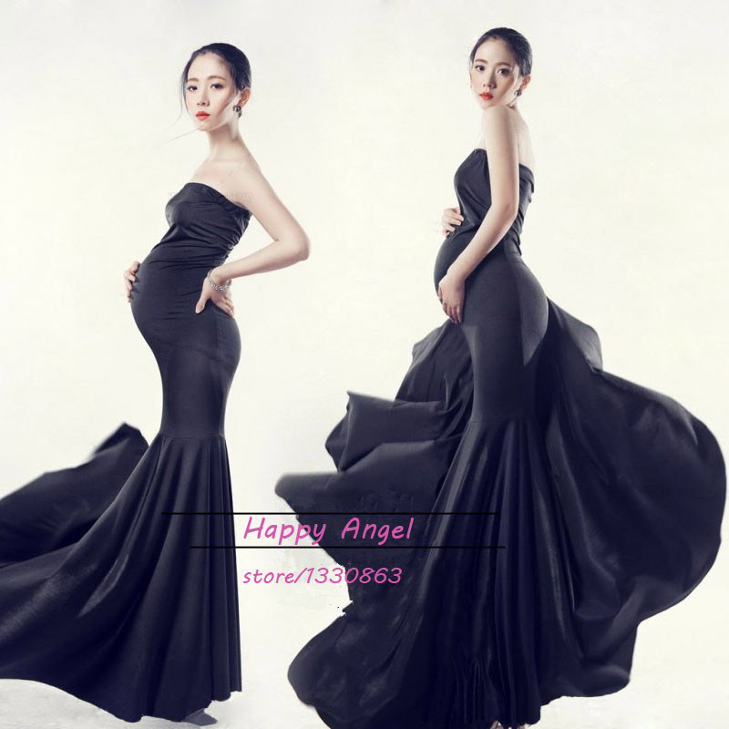9816caedba9 New Maternity Photography Props clothing for pregnant women Mermaid Dress  Pregnancy black Romantic set Princess Free shipping-in Dresses from Mother    Kids ...