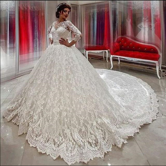 Glitz Soft Lace Bridal Gowns with Full Sleeves Bow Long Train Sheer Back Ball Gowns For Elegant Brides Custom Made New Arrivals
